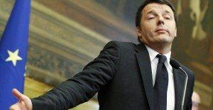 Matteo Renzi durante la conferenza stampa di ieri sera